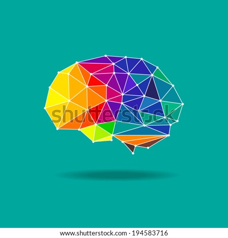 brain geometric flat design vector eps 10 vector