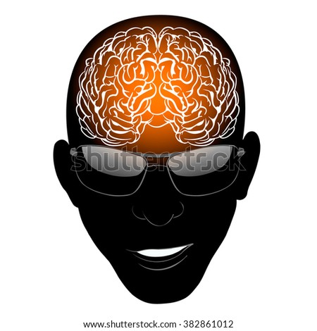 brain, head, glasses, for any ideas and projects, Victor EPS 10 - stock vector