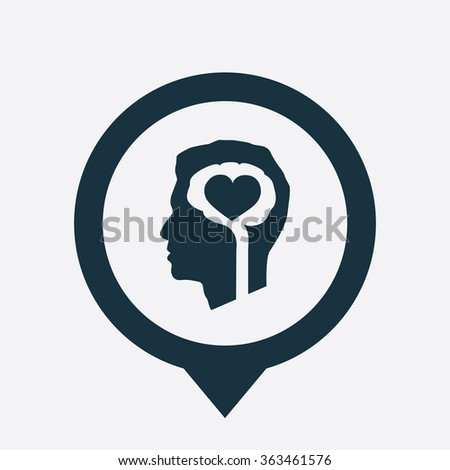 brain heart icon, on white background map pin - stock vector