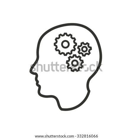 Brain  icon  on white background. Vector illustration.