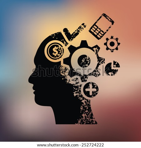 Brain ideas design on blur background,grunge vector - stock vector
