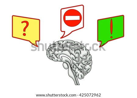 brain illustration with icons of questions and ideas - stock vector