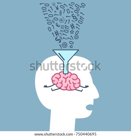 Brain Human Head Informations Filling Funnel Stock Vector Hd