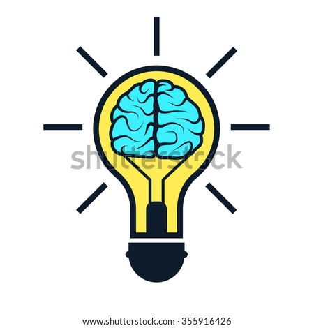 Brain in lamp. Creative concept ideas for presentation, booklet, website and other design projects. Vector illustration for your business. - stock vector