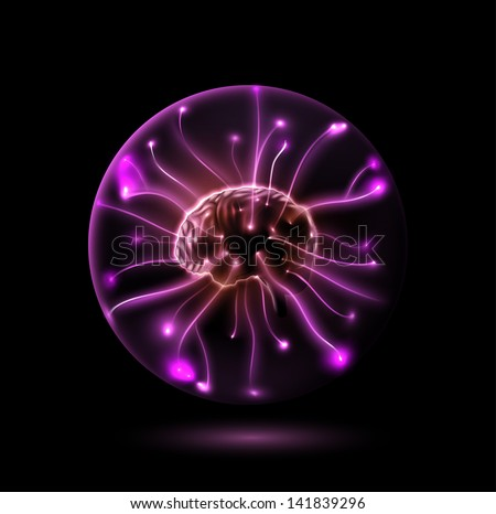Brain in sphere. Illustration contains transparency and blending effects, eps 10 - stock vector