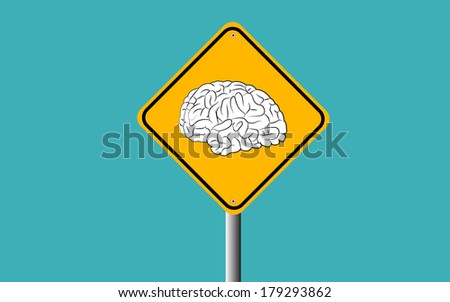 brain in traffic sign - stock vector