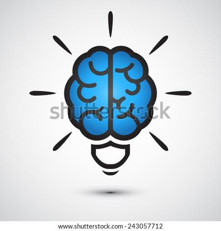 Brain Light bulb icon. Idea  - stock vector