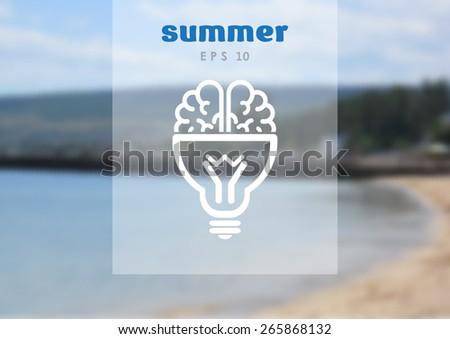 Brain light bulb icon on blurred background - stock vector