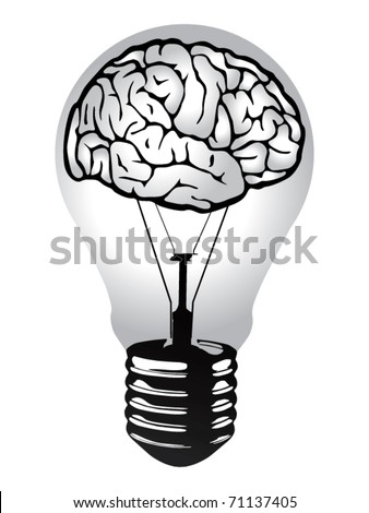 brain light bulb vector - stock vector