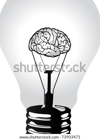 brain light bulb vector - stock vector