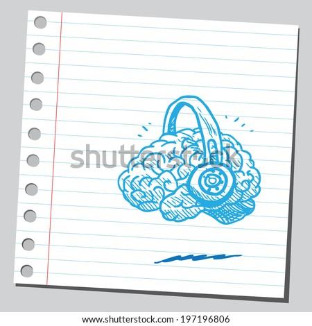 Brain listening something - stock vector