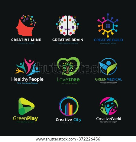 Brain logo,idea logo,creative design logo,healthy logo,multimedia logo,people and family logo set,logo set,vector logo template - stock vector