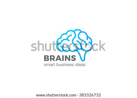 Brain Logo silhouette design vector template linear style.  Brainstorm think idea Logotype concept outline icon. - stock vector