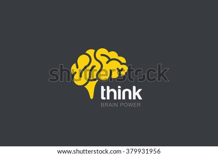 Brain Logo silhouette design vector template. Think idea concept. Brainstorm power thinking brain Logotype icon Logo. - stock vector
