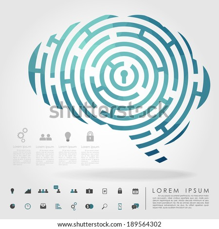 brain maze geometry with business icon vector - stock vector