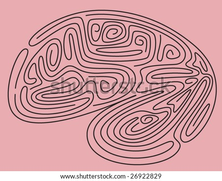 Brain Maze - vector illustration - stock vector