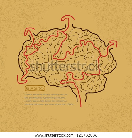 brain maze with correct path , Vector EPS10 - stock vector
