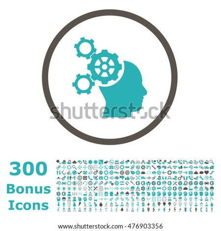 Brain Mechanics rounded icon with 300 bonus icons. Vector illustration style is flat iconic bicolor symbols, grey and cyan colors, white background.