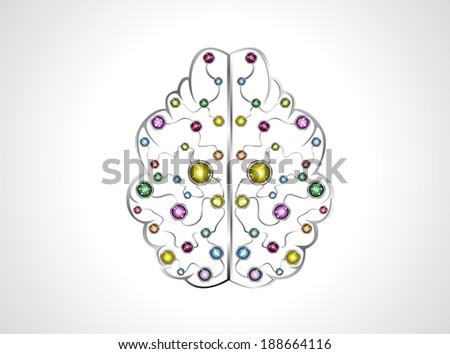 brain molecules to metal icons vector. - stock vector
