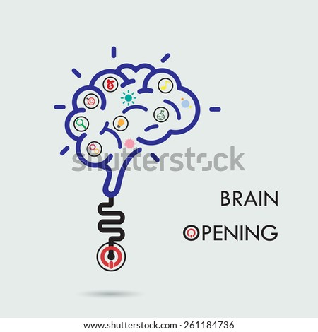 Brain opening concept.Creative brain abstract vector logo design template. Corporate business industrial creative logotype symbol.Vector illustration