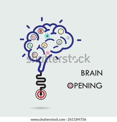 Brain opening concept.Creative brain abstract vector logo design template. Corporate business industrial creative logotype symbol.Vector illustration - stock vector