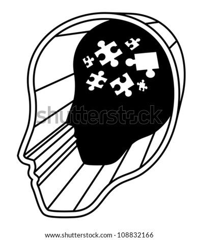 Brain puzzle - stock vector