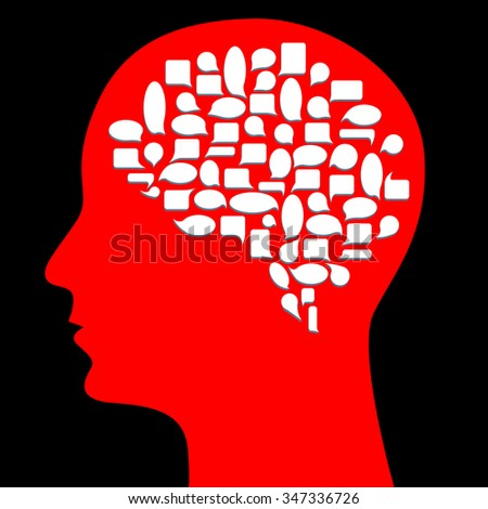 Brain represented as thought bubbles, Creative Thinking, Business Idea, Creativity, Innovation, Thoughts -  Illustration - stock vector