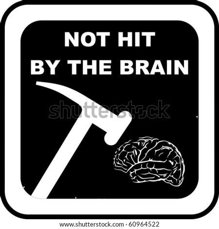 Brain rubber stamp - stock vector