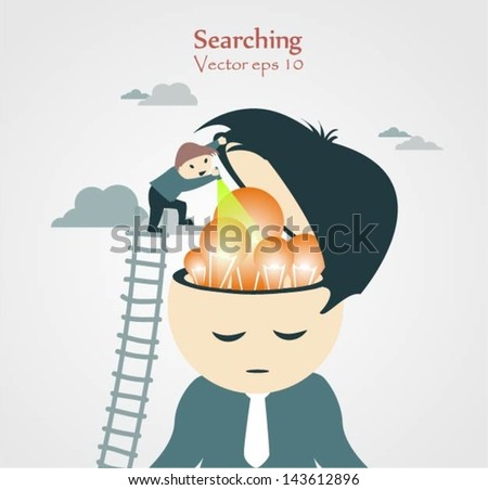 Brain Searching Concept - stock vector