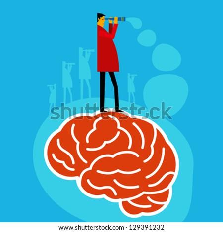 brain searching idea - stock vector