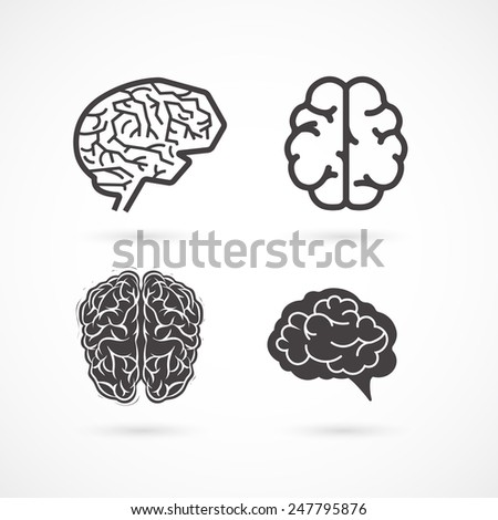 Brain - set of vector illustrations, symbols and icons - stock vector