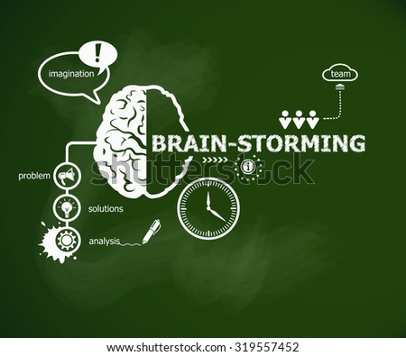 Brain-storming concept and brain. Hand writing Brain-storming with chalk on green school board - stock vector