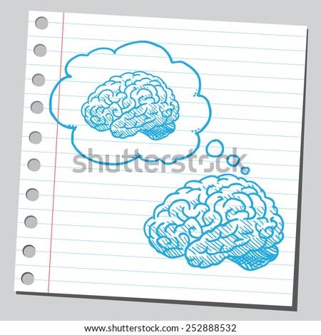 Brain thinking about brain  - stock vector