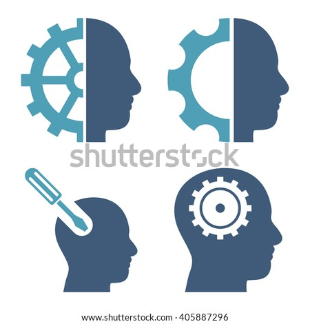 Brain Tools vector icons. Style is bicolor cyan and blue flat symbols on a white background. - stock vector