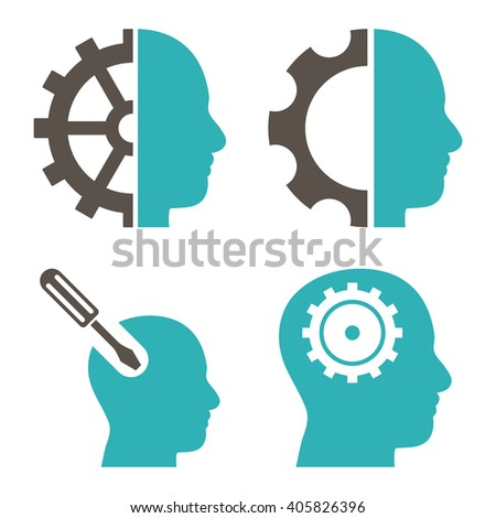 Brain Tools vector icons. Style is bicolor grey and cyan flat symbols on a white background. - stock vector