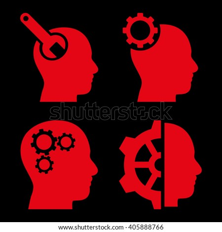 Brain Tools vector icons. Style is red flat symbols on a black background. - stock vector
