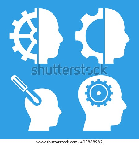 Brain Tools vector icons. Style is white flat symbols on a blue background. - stock vector