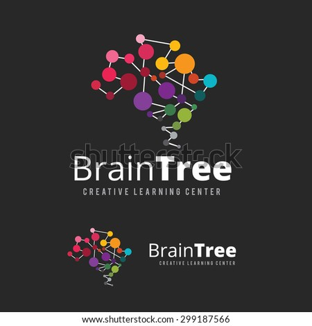 Brain Tree,brain logo,mine,creative,learning logo,eduction logo,school,kids,arts vector logo  - stock vector
