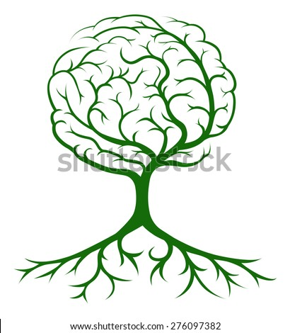 Brain tree concept of a tree growing in the shape of a human brain. Could be a concept for ideas or inspiration - stock vector