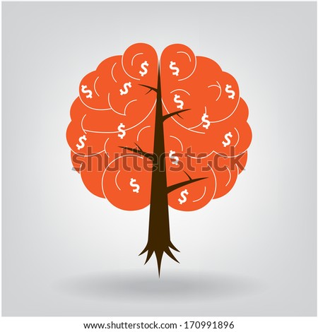 Brain tree illustration, tree of knowledge, medical, environmental or business concept - stock vector
