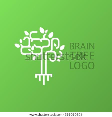 Brain tree logo. Science logo design template.  - stock vector
