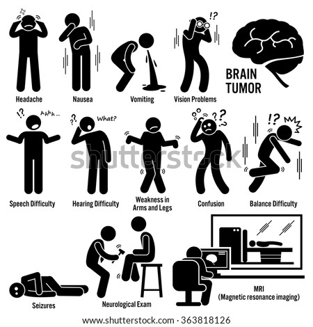 Brain Tumor Cancer Symptoms Causes Risk Factors Diagnosis Stick Figure Pictogram Icons - stock vector