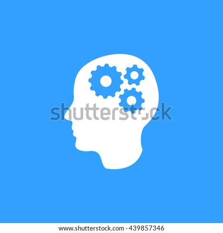 Brain vector icon. White Illustration isolated on blue background for graphic and web design. - stock vector
