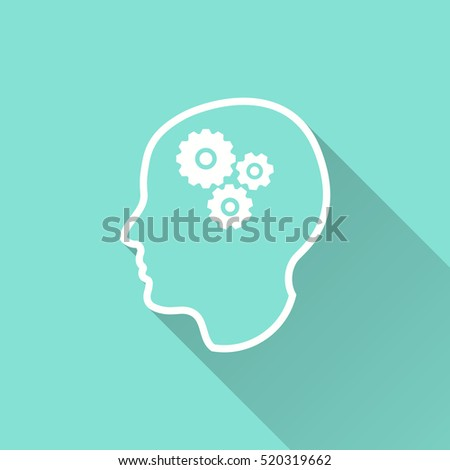 Brain vector icon with long shadow. White illustration isolated on green background for graphic and web design.