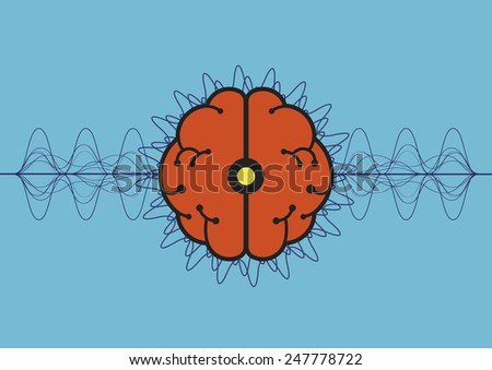 brain wave, pulse processing, science vector - stock vector