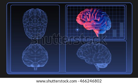 Brain wireframe graphic on monitor screen for use as element of motion design