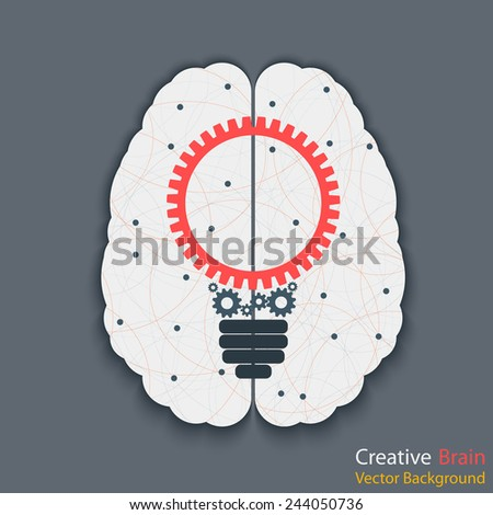 Brain with bulb. Idea concept. Eps10 vector for your design - stock vector