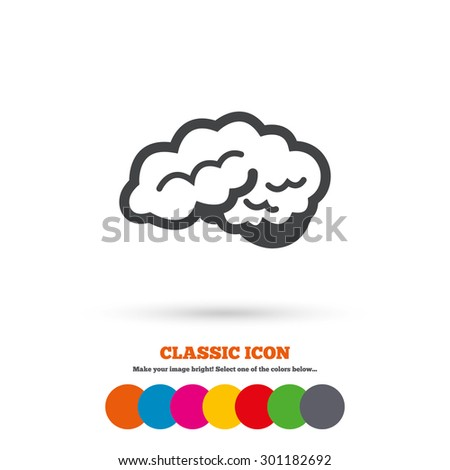 Brain with cerebellum sign icon. Human intelligent smart mind. Classic flat icon. Colored circles. Vector