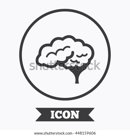 Brain with cerebellum sign icon. Human intelligent smart mind. Graphic design element. Flat symbol in circle button. Vector
