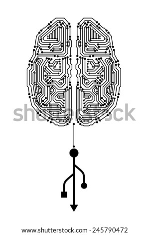 Brain with circuit board texture and usb sing. Digital concept. Digitally background. EPS10 vector - stock vector